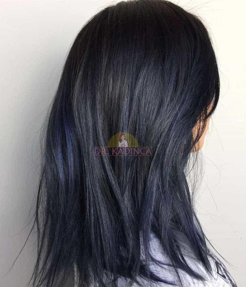 Küllü Mavi Siyah Saç