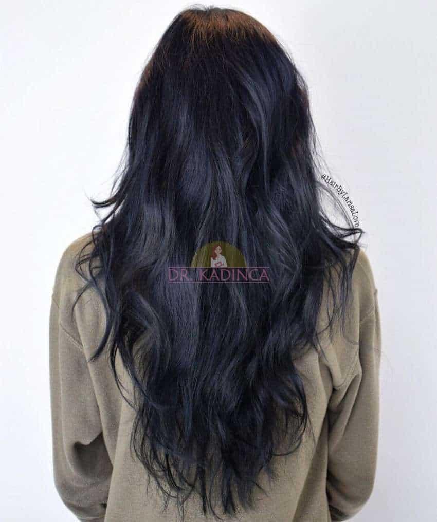 Katlı Mavi Siyah Saç