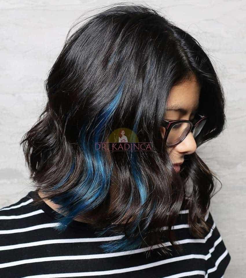 Siyah Saça Mavi Işıltı