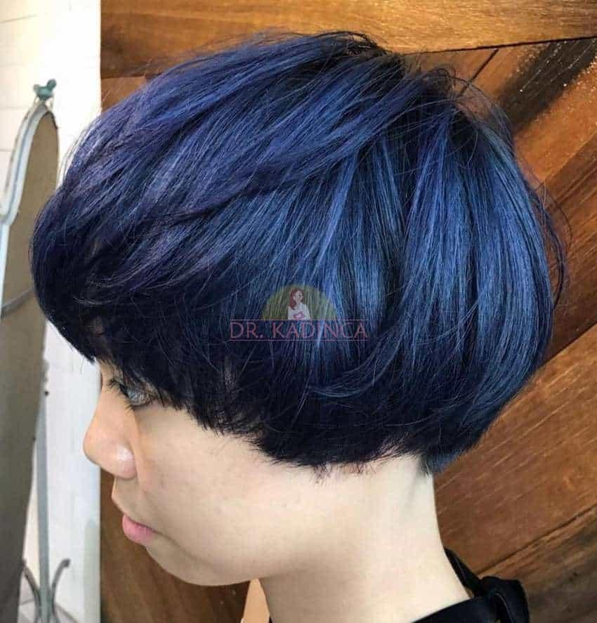 Çok Kısa Mavi Siyah