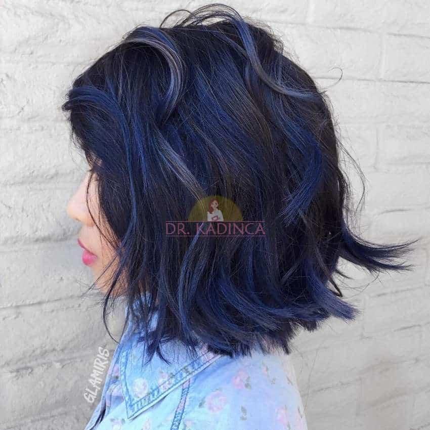 Kısa Mavi Siyah Saç